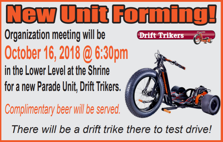 tangier shrine new unit organization meeting drift trikers