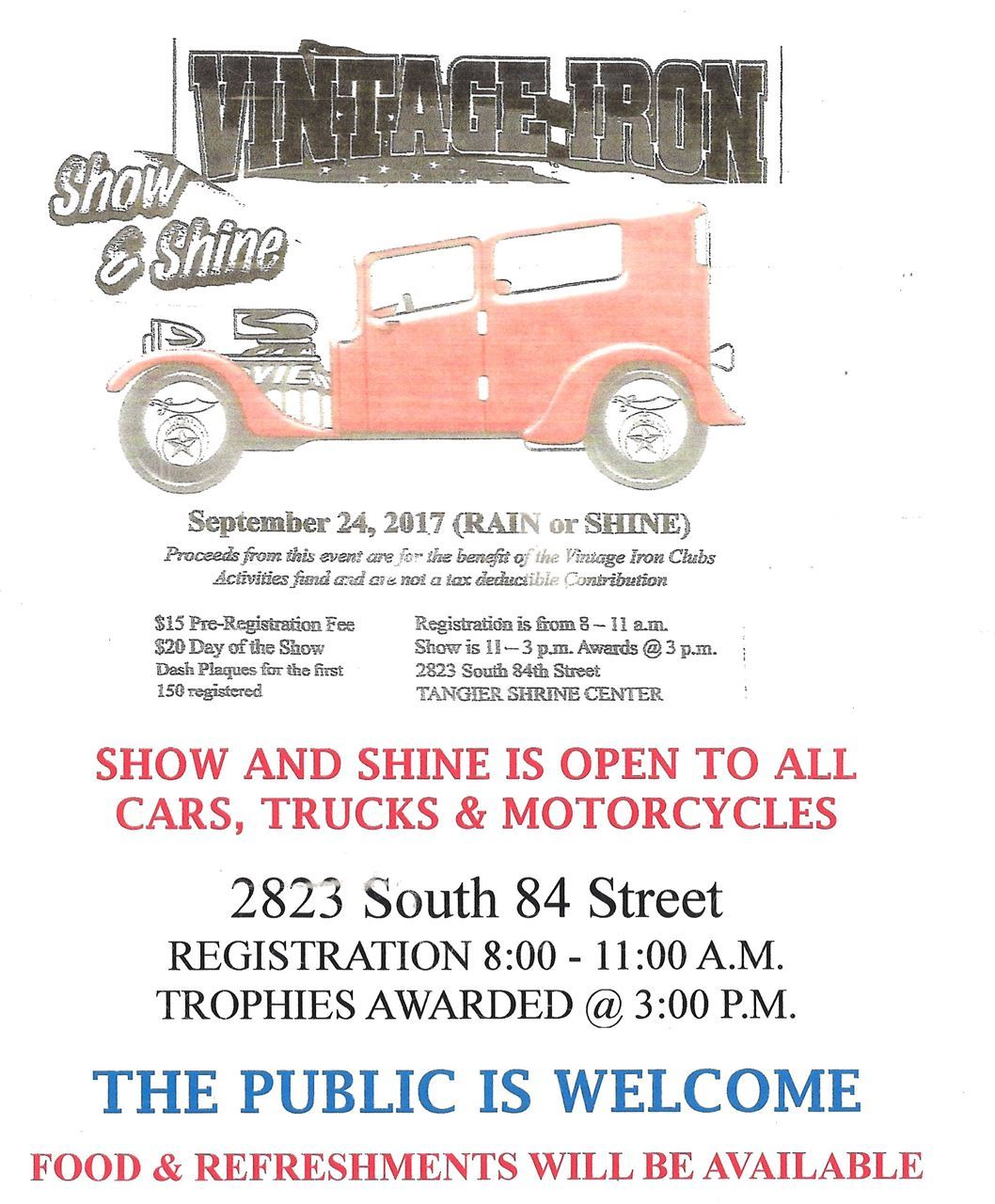 Tangier Shrine - Vintage Iron Summer\'s End Show & Shine